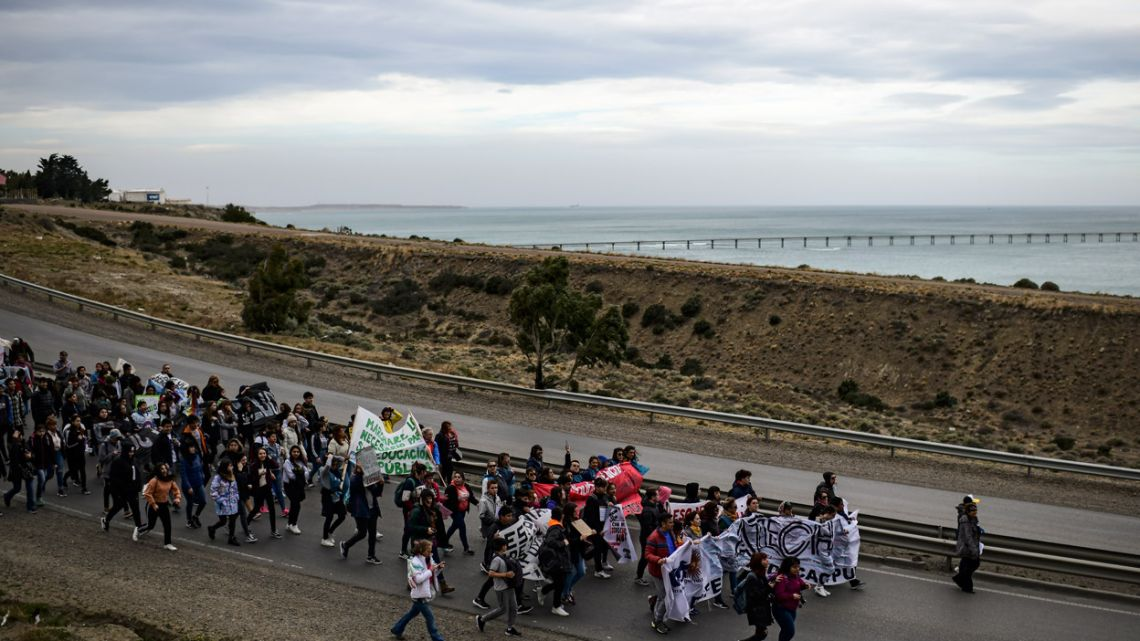 Teachers and students march in protest toward Comodoro Rivadavia, in the Patagonian province of Chubut, Argentina, on September 11, 2019.