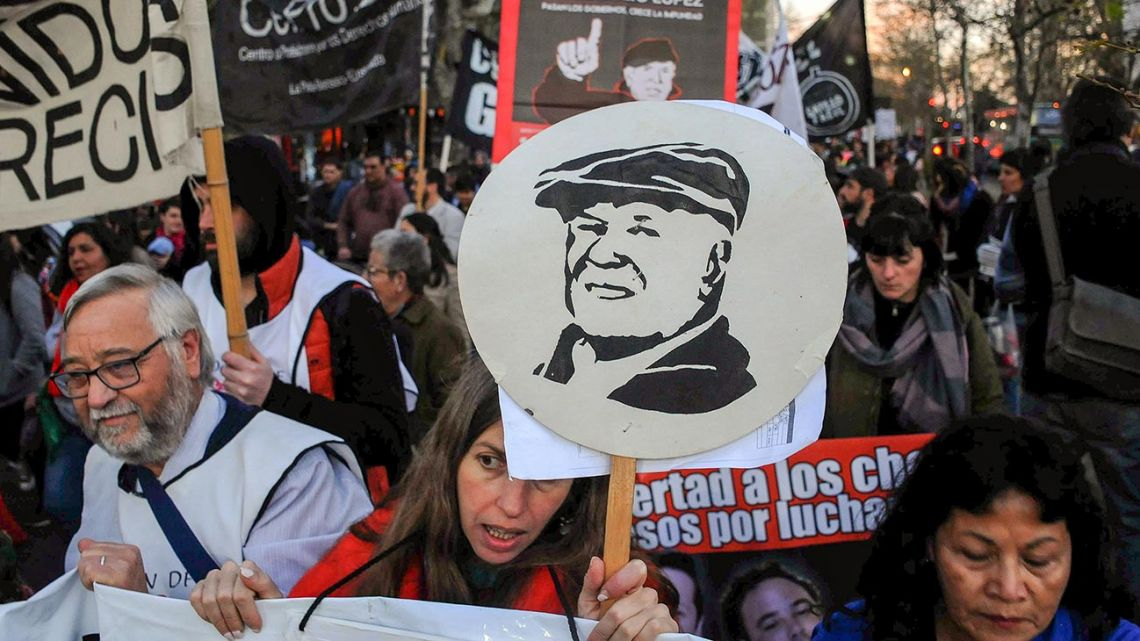 Demonstrators in La Plata march, calling for justice for Jorge Julio López, who disappeared 13 years ago today.
