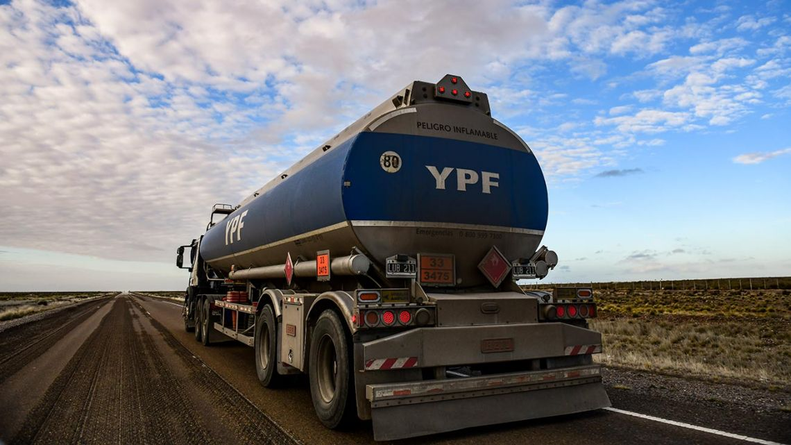 View of a tank truck from state-run energy company YPF on a road near Comodoro Rivadavia, in the Patagonian province of Chubut.