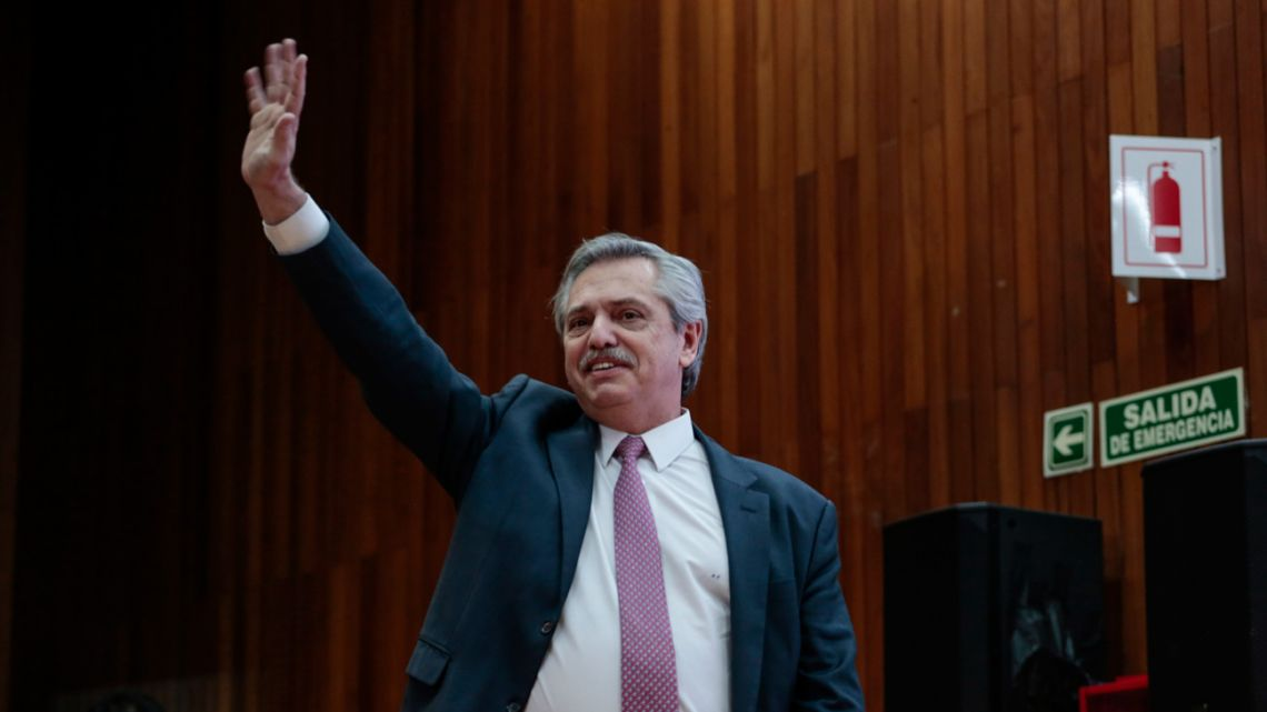 "Alberto Fernández waves while arriving to the ""Buenos Aires, City of Knowledge"" event in Buenos Aires, Argentina, on Tuesday, September 17, 2019."