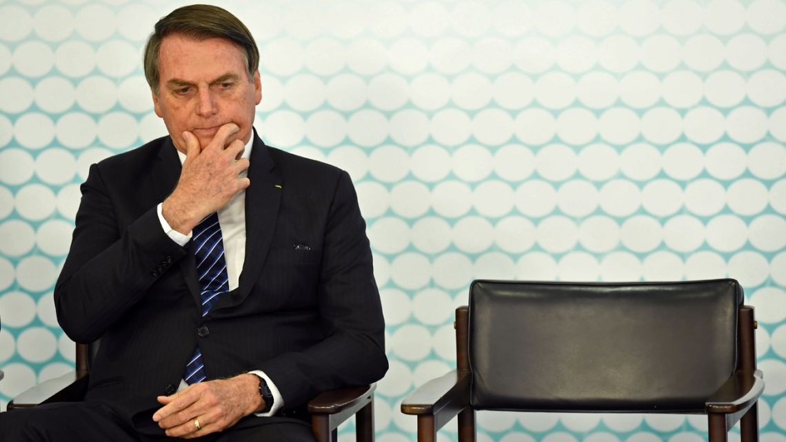 In this photo taken on September 6, 2019, Brazilian President Jair Bolsonaro gestures during a ceremony at the Planalto Palace in Brasilia.