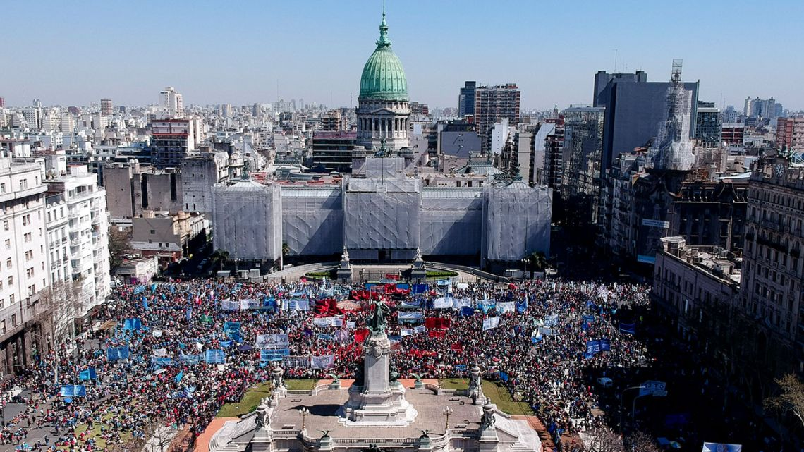Protesters gather outside the Congress in Buenos Aires on Wednesday, September 18, 2019. Demonstrators from a wide variety of social organisations waited outside Congress for the passage of a food emergency bill.