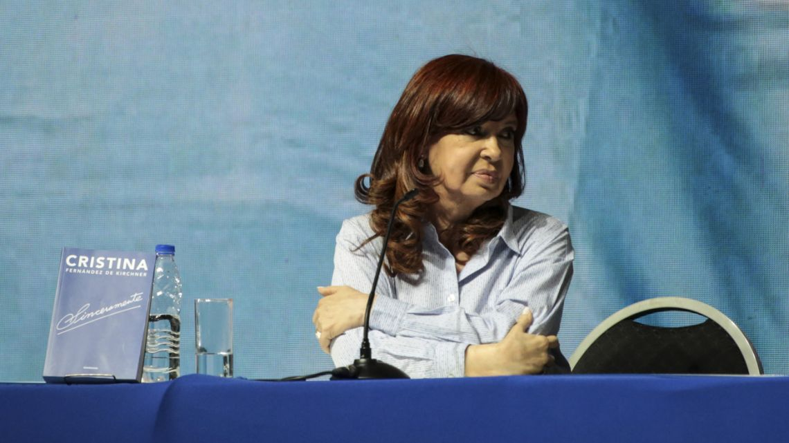 Cristina Fernández de Kirchner, former president and Frente de Todos vice-presidential candidate, pictured during a book presentation at the DirecTV Arena in Tortuguitas on Saturday, August 3, 2019.