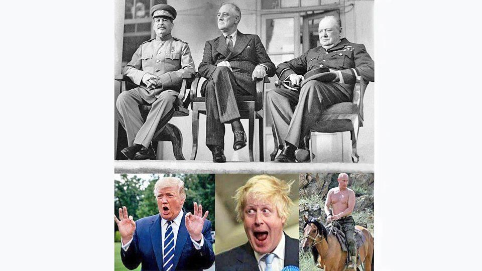 Apolíneos - Dionisíacos. Ayer y hoy: Stalin, Roosevelt y Churchill. Trump, Johnson y Putin.