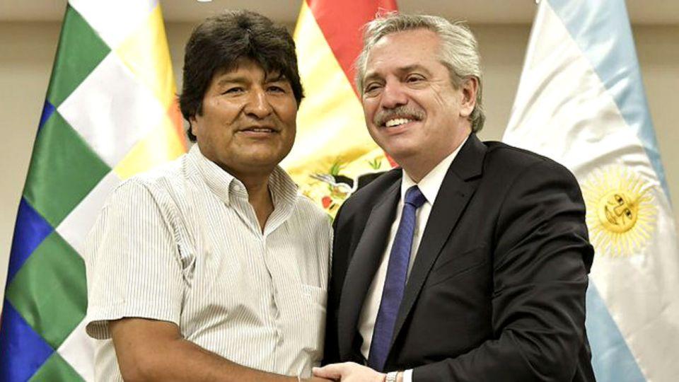 Evo Morales recibió al candidato K en Santa Cruz de la Sierra.