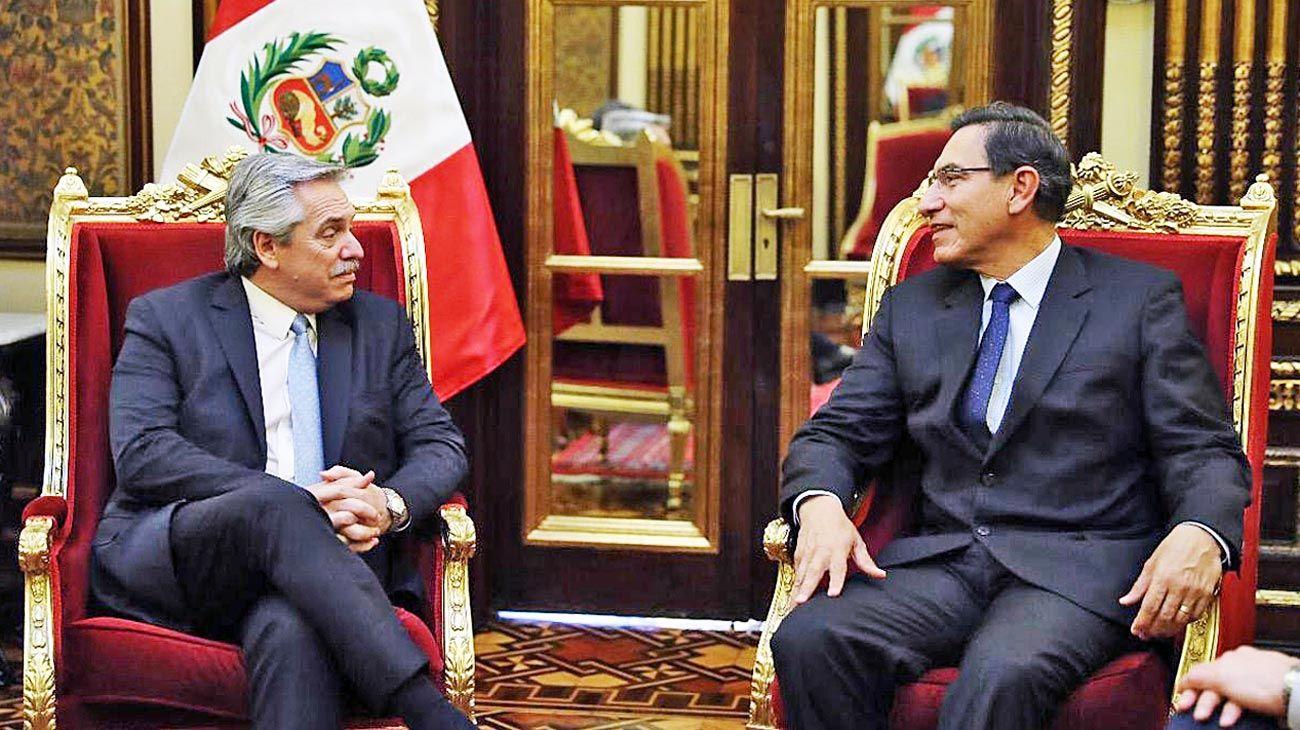 Conclave. Ayer por la tarde, Alberto fue recibido por el jefe de Estado peruano, Martín Vizcarra.