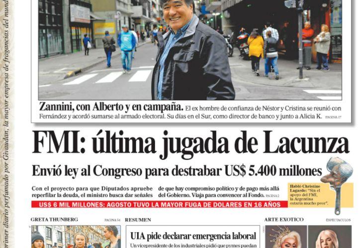 La tapa del diario PERFIL del sábado 21 de septiembre de 2019.