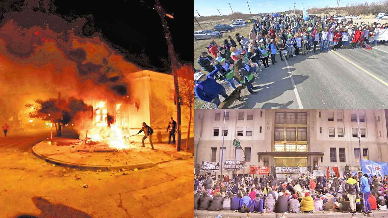 En alerta. Chubut fue el epicentro de violentas protestas en los últimos días; en Capital vuelven las marchas a las calles.