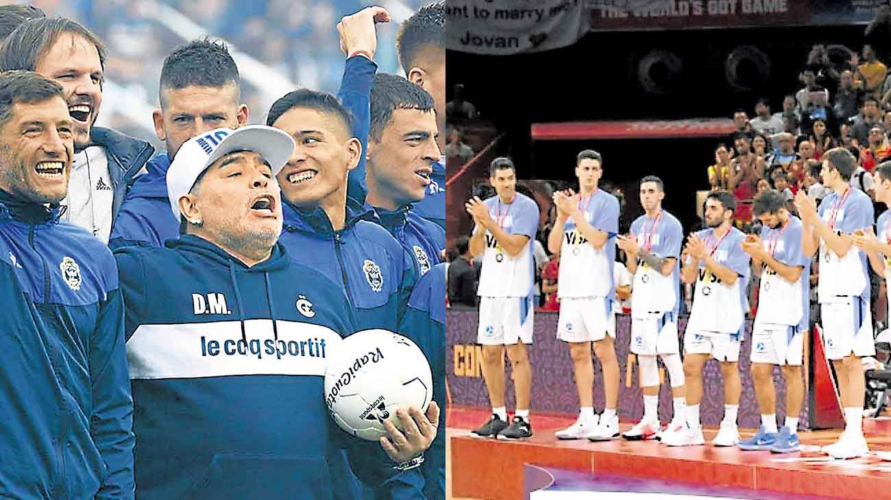 Contraste deportivo. Diego Maradona en La Plata, la selección de básquet en Beijing.