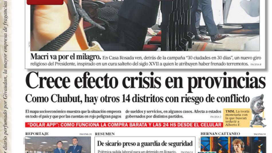 La tapa del diario PERFIL de este domingo 22 de septiembre de 2019.
