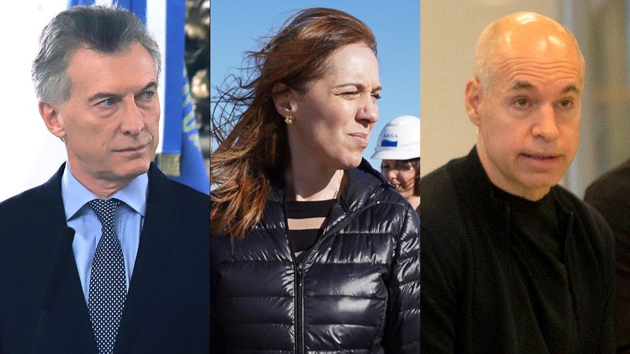 Mauricio Macri, María Eugenia Vidal y Horacio Rodríguez Larreta.