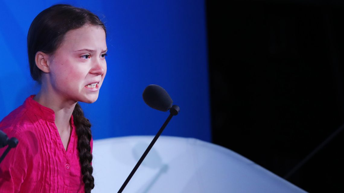 Greta Thunberg speaks at the United Nations where world leaders are holding a summit on climate change on September 23, 2019 in New York City.