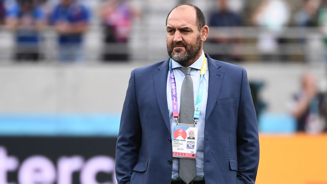 Argentina's head coach Mario Ledesma looks on prior to the Japan 2019 Rugby World Cup Pool C match between France and Argentina.