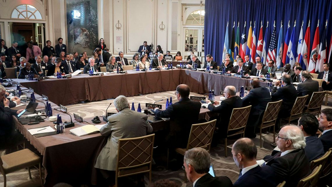 Members of the Rio Treaty, organised by the Organiwation of American States, meet to discuss possible sanctions on Venezuela, Monday September 23, 2019, in New York.