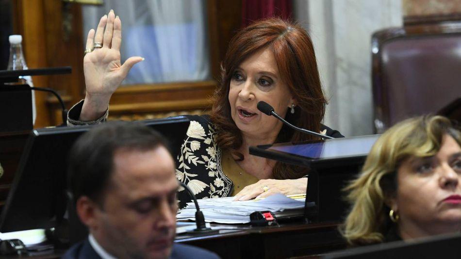 Cristina Kirchner en el Senado.