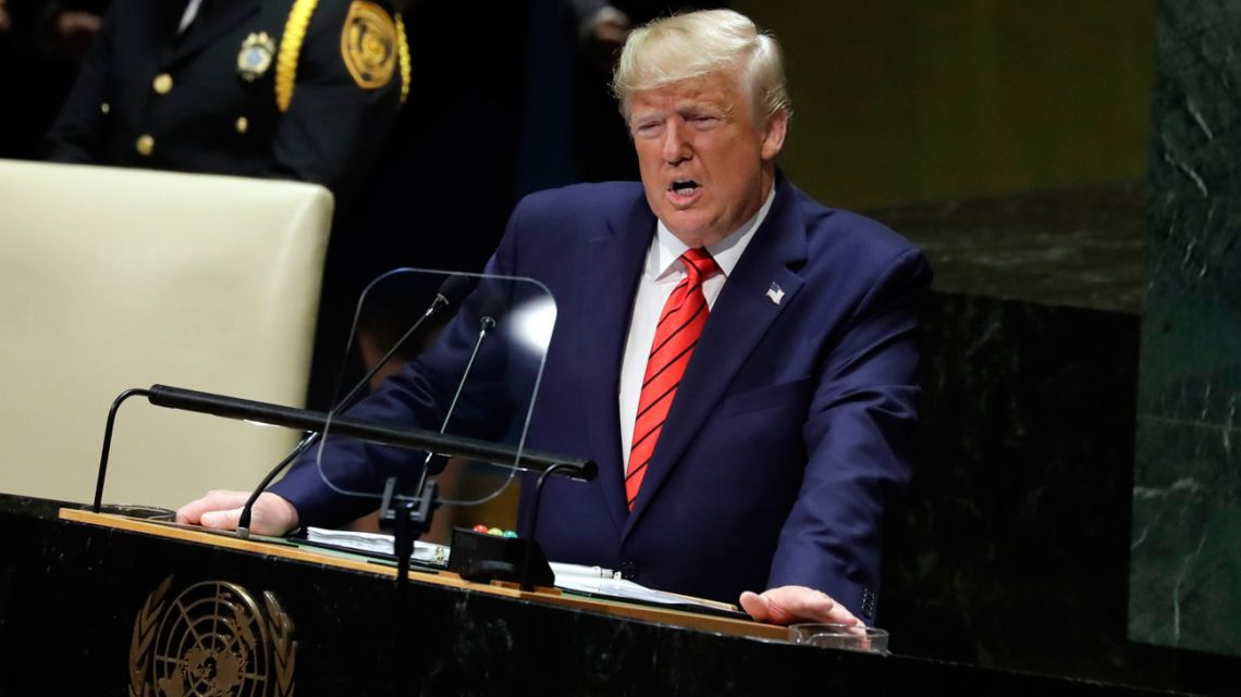 US President Donald Trump delivers remarks to the 74th session of the United Nations General Assembly, Tuesday, September 24, 2019, in New York.