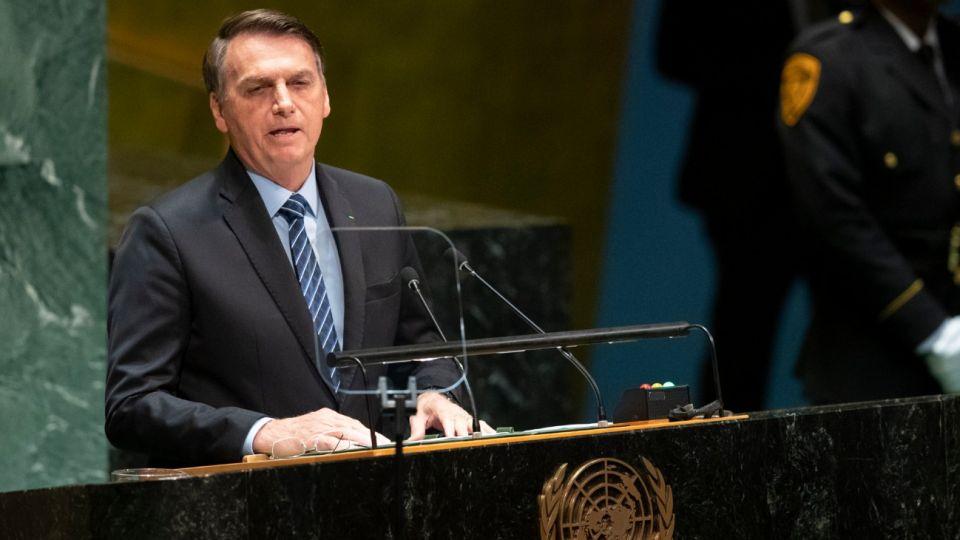 Jair Bolsonaro dando su discurso en la ONU.