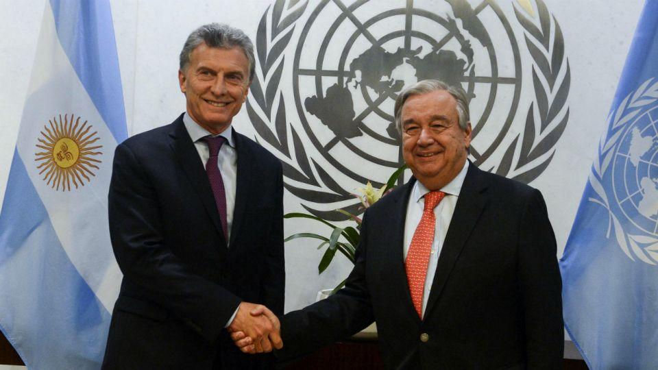 Macri con el secretario general de la ONU, Antonio Guterres, en 2017.
