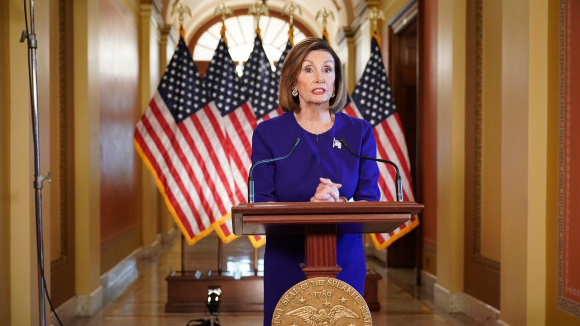 US Speaker of the House Nancy Pelosi, Democrat of California, announces a formal impeachment inquiry of US President Donald Trump in Washington, DC.