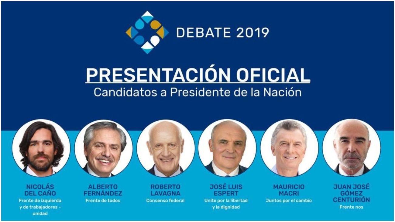 Nicolás del Caño, Alberto Fernández, Roberto Lavagna, José Luis Espert, Mauricio Macri, Juan José Gómez Centurión.