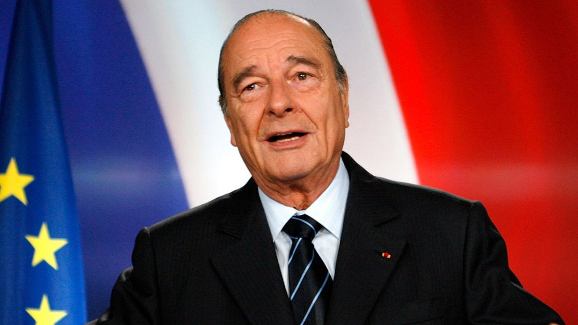 In this March 11, 2007 photo, then-French president Jacques Chirac poses after recording a television address from the Élysée Palace in Paris.