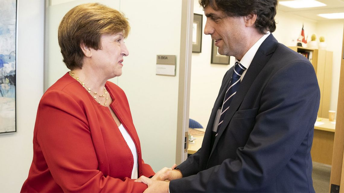 Incoming IMF chief Kristalina Georgieva meets with Finance Minister Hernán Lacunza in New York.