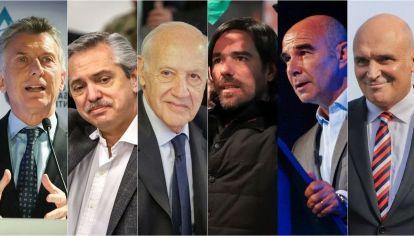 Mauricio Macri, Alberto Fernández, Roberto Lavagna, Nicolás del Caño, Juan José Gómez Centurión, José Luis Espert.