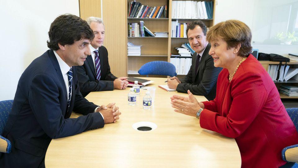 Lacunza junto a la nueva directora del FMI.