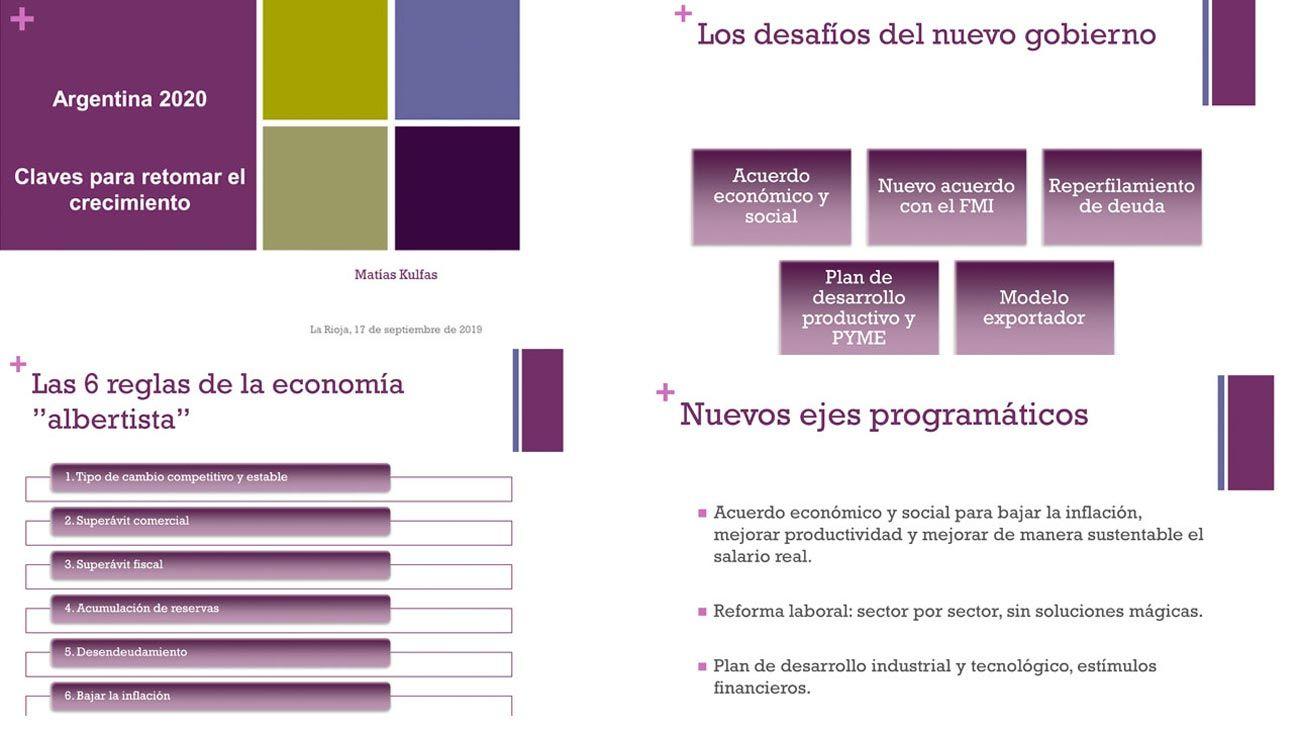 """Documento. El economista Matías Kulfas está de gira por eventos empresarios con esta presentación del """"pensamiento económico albertista"""". Ideas generales y máximas que generan consensos. Las posturas diferentes emergen en los números concretos del plan."""