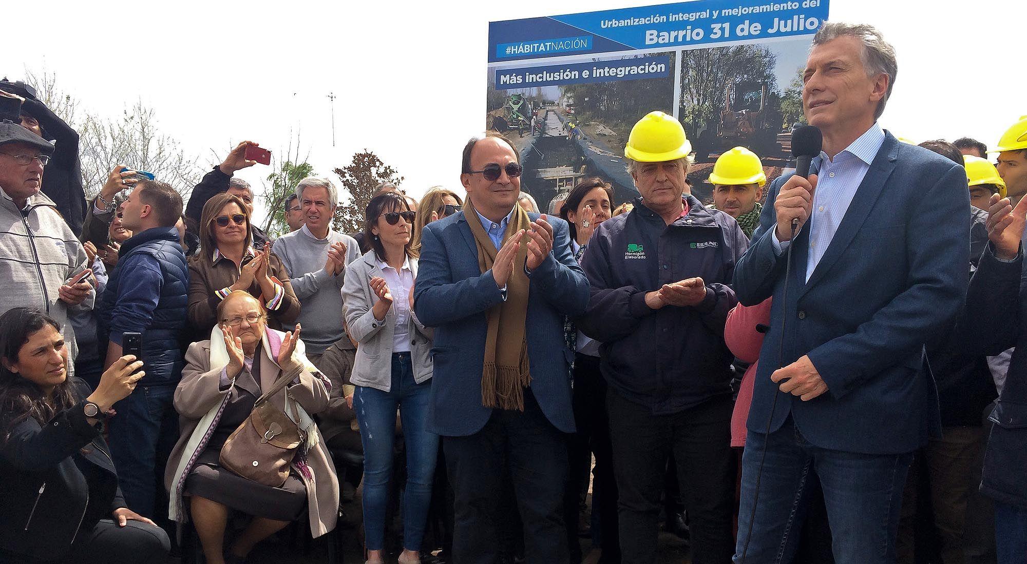 El presidente Mauricio Macri inaugura obras en Saladillo Provincia de Buenos Aires.