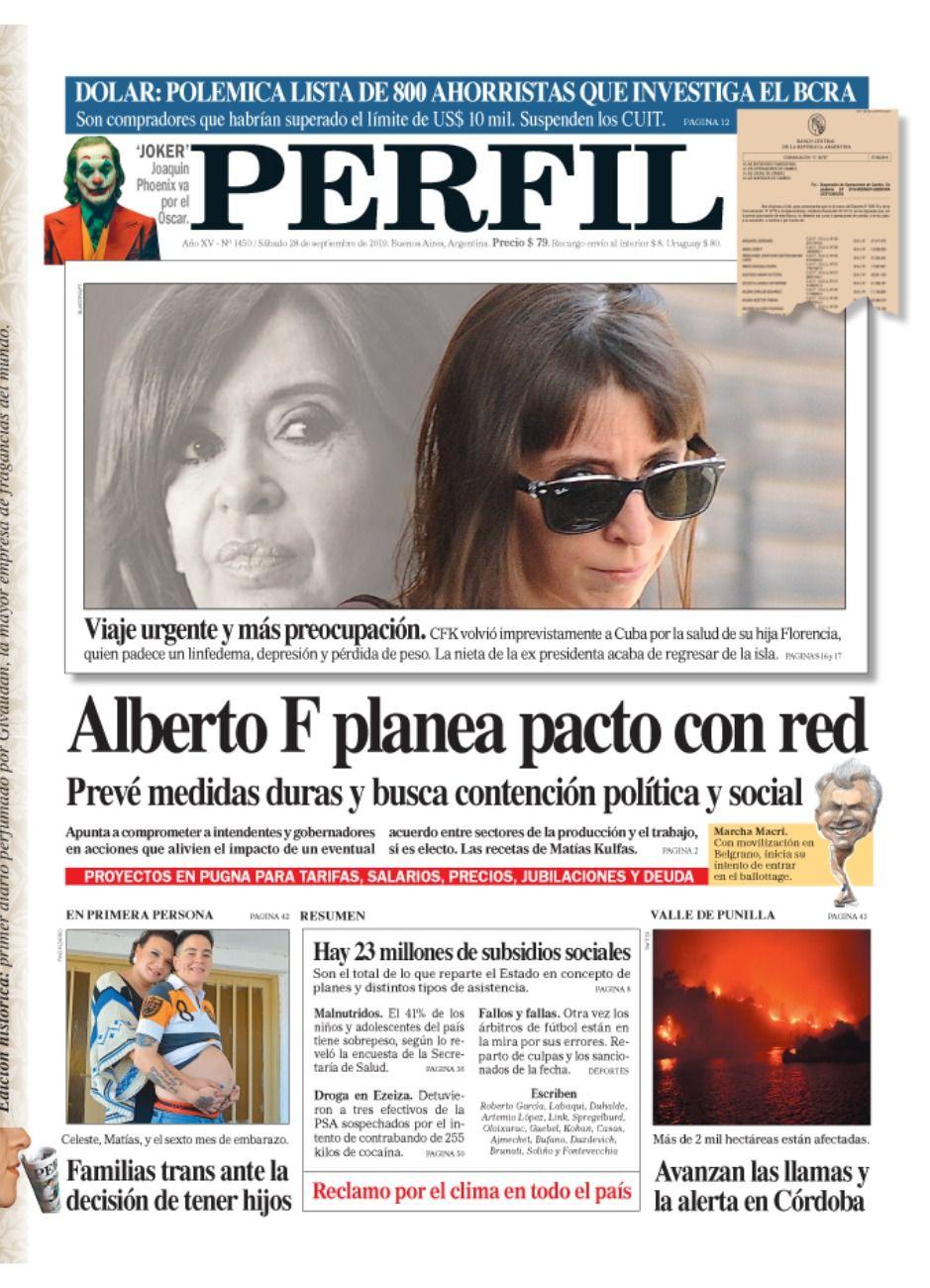 La tapa de diario PERFIL del sábado 28 de septiembre.
