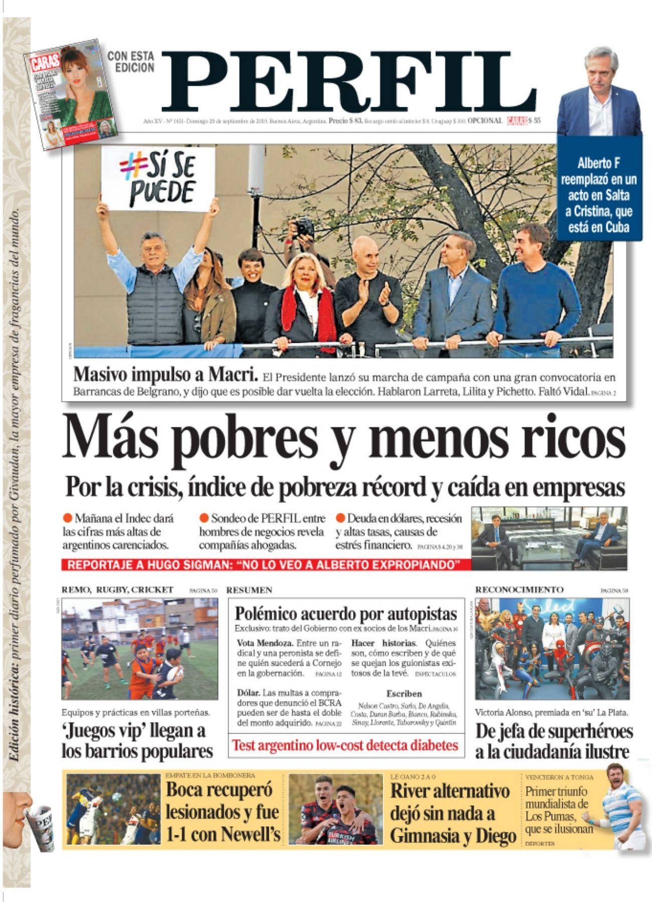 La tapa de diario PERFIL de este domingo 29 de septiembre de 2019