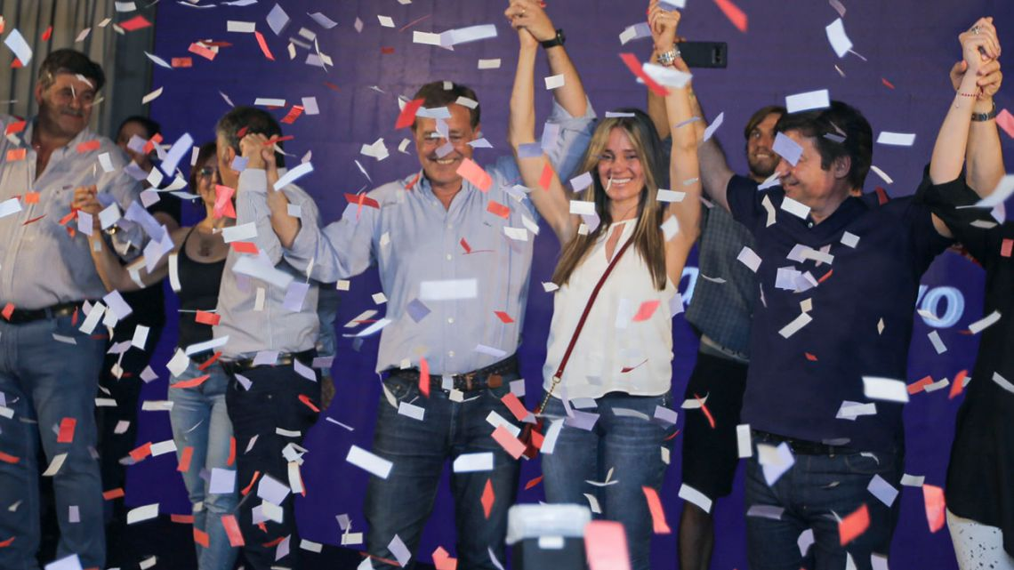 Radical gubernatorial candidate for the Cambia Mendoza front, Rodolfo Suárez, celebrates after learning of his victory in Mendoza.