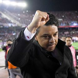 River Plate coach Marcelo Gallardo celebrates his team's 2-0 victory over Boca Juniors.