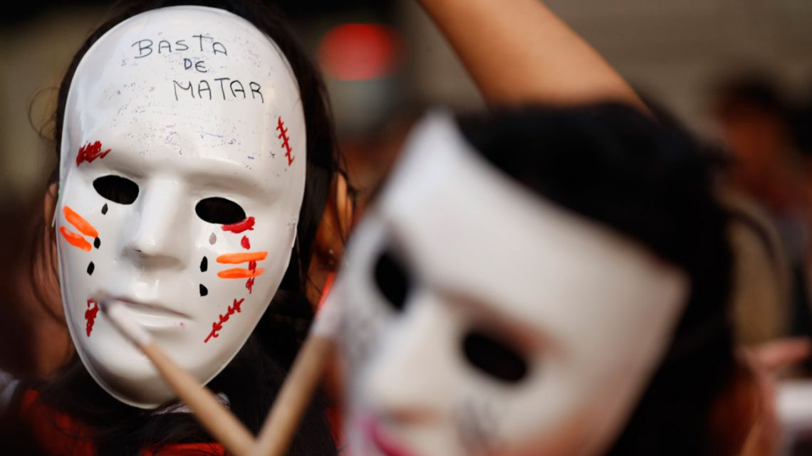 A protester demonstrates during a Ni Una Menos march in Buenos Aires.