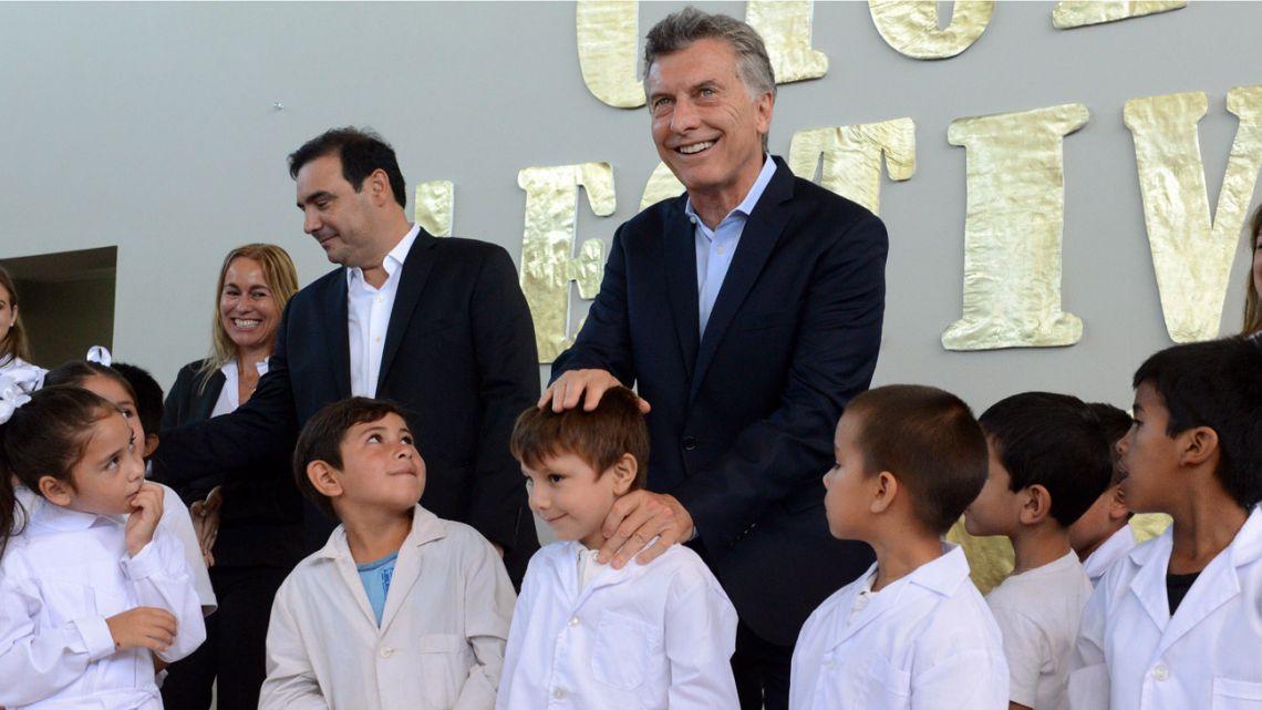 President Mauricio Macri visits a school in Bella Vista, Corrientes, back in 2018.