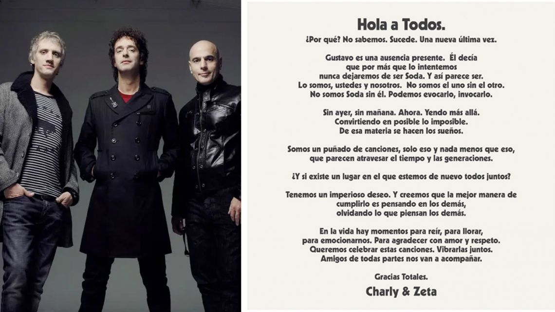 Soda Stereo made the announcement via a post on social networks.