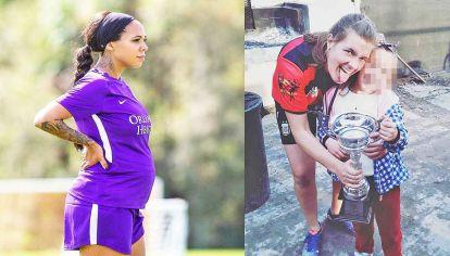 Madres. La estadounidense Sydney Leroux jugó hasta el quinto mes de embarazo. Florencia Garay, de UBA, con su hija de 8 años.