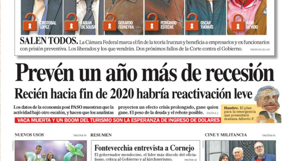 La tapa del Diario PERFIL del domingo 6 de octubre de 2019.