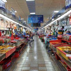 Vista de la parte interna del enorme mercado de pescadores Jagalchi, de Busan.