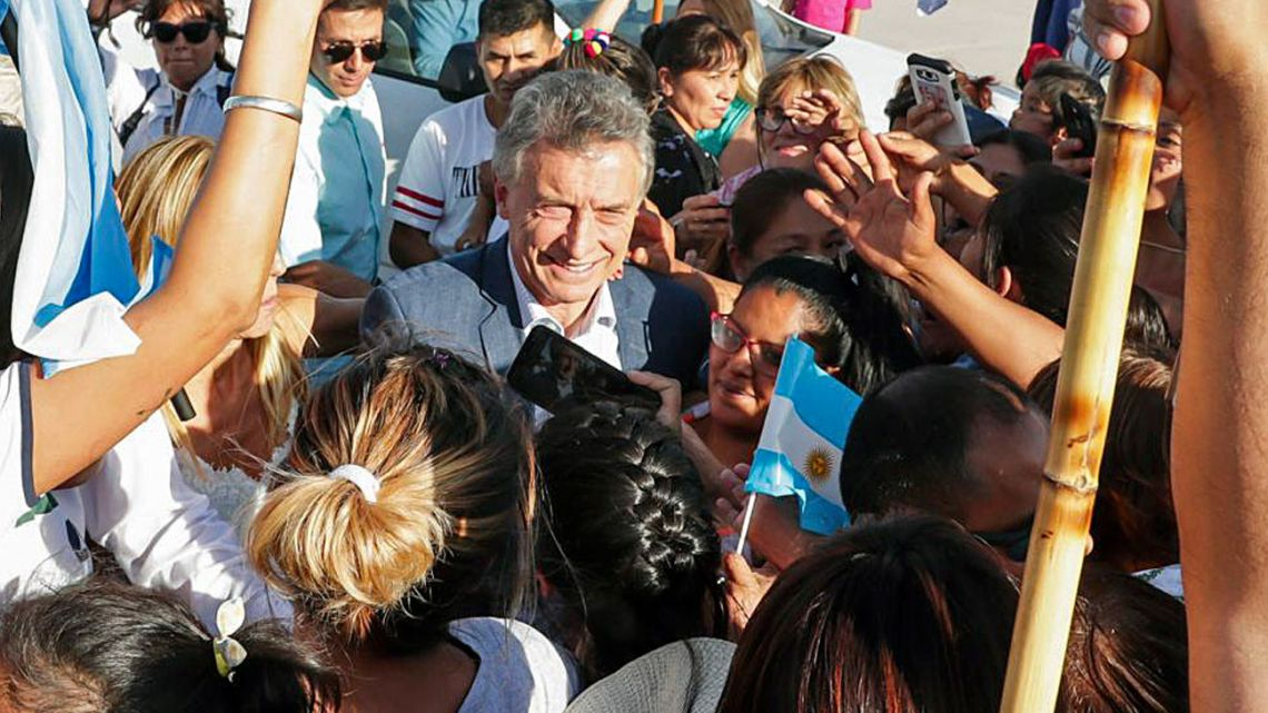 Mauricio Macri, pictured in El Mollar, Salta Province, on October 10, 2019.