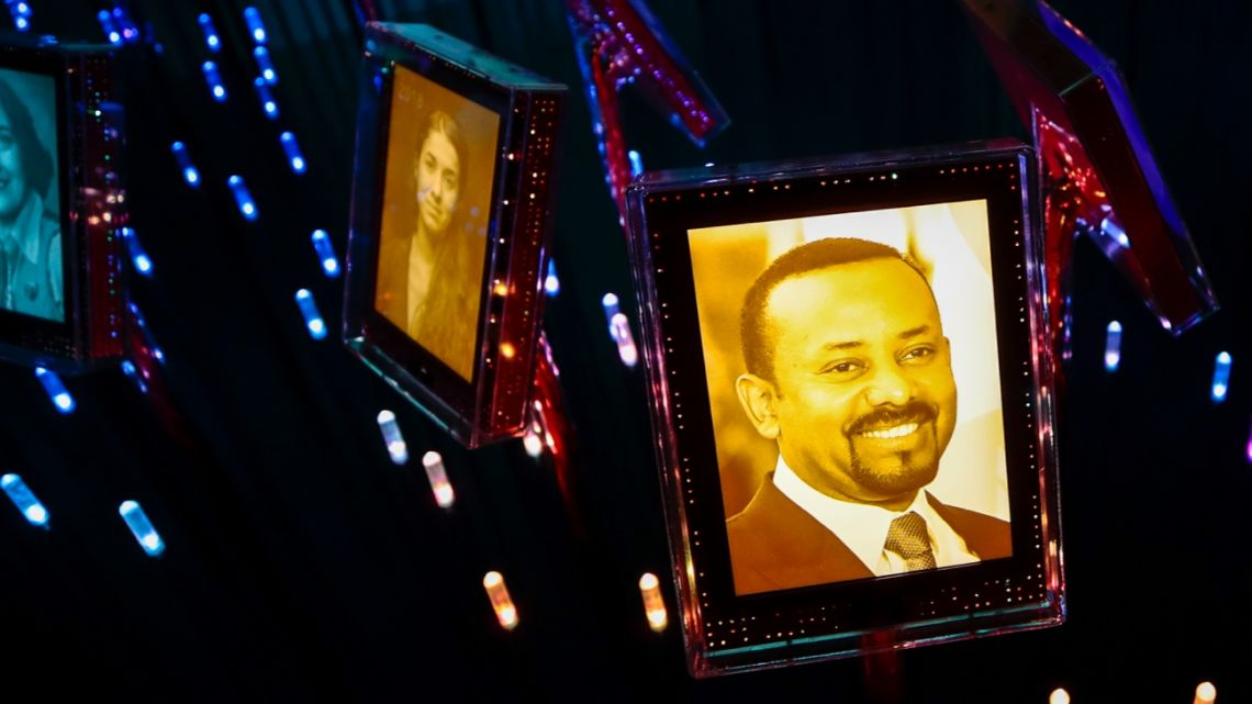 A picture of the 2019 Nobel Peace Prize laureate Ethiopian Prime Minister Abiy Ahmed Ali is on display at the Nobel Peace Center in Oslo