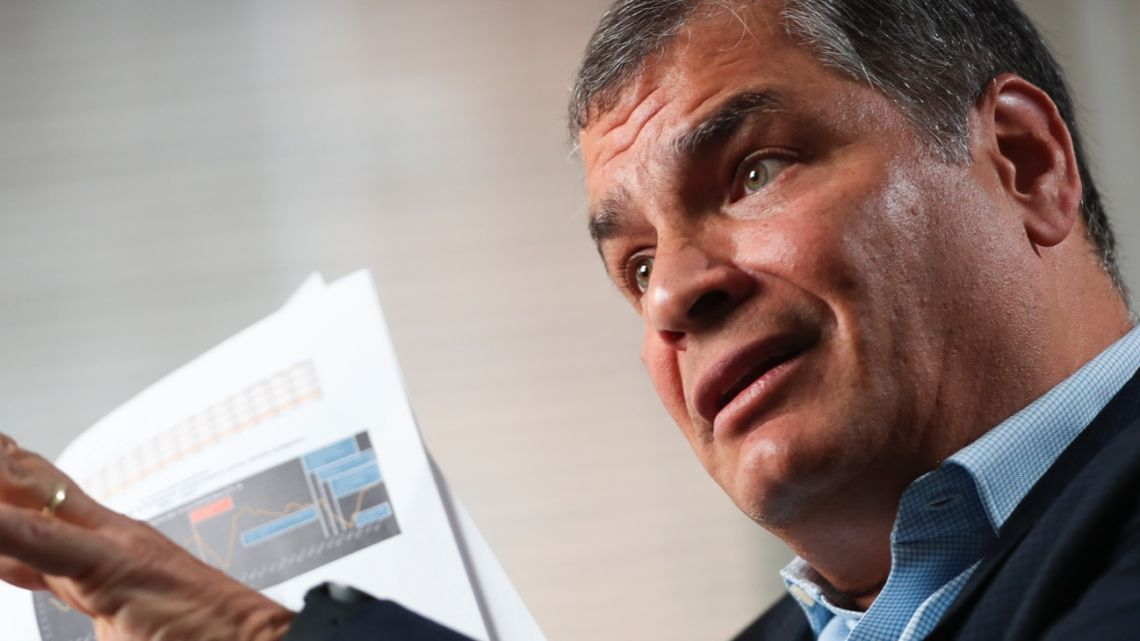 "Former Ecuador President Rafael Correa talks during an interview with Associated Press in Brussels, Correa dismisses as ""nonsense"" allegations that he is plotting with Venezuela President Nicolas Maduro to destabilize the current Ecuador government amid violent unrest."