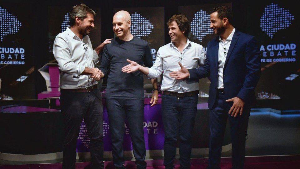 Los cuatro candidatos a jefe de Gobierno porteño, Matías Lammens, Matías Tombolini y Gabriel Solano, además de Larreta, debatieron en las instalaciones del Canal de la Ciudad