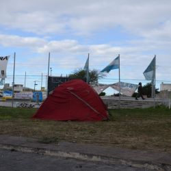 A tent at a teacher encampment stands in front of Chubut's provincial legislature in the capital city of Rawson.