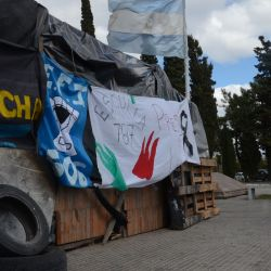 An encampment built by teachers stands in front of the provincial legislature of Chubut in the capital city of Rawson.