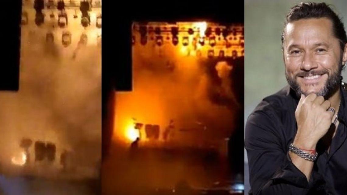 Se incendió el teatro en donde estaba cantando Diego Torres