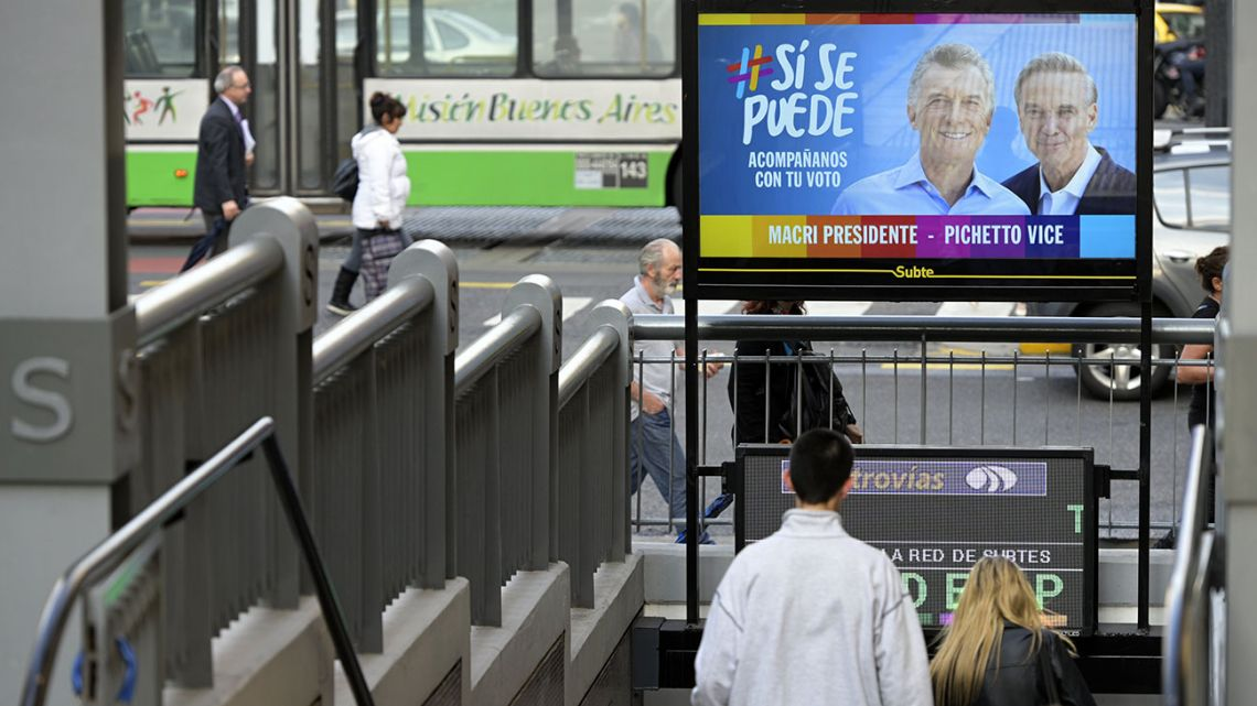Political advertising at the entrance of a subway station in Buenos Aires. Argentina's presidential election takes place on October 27.