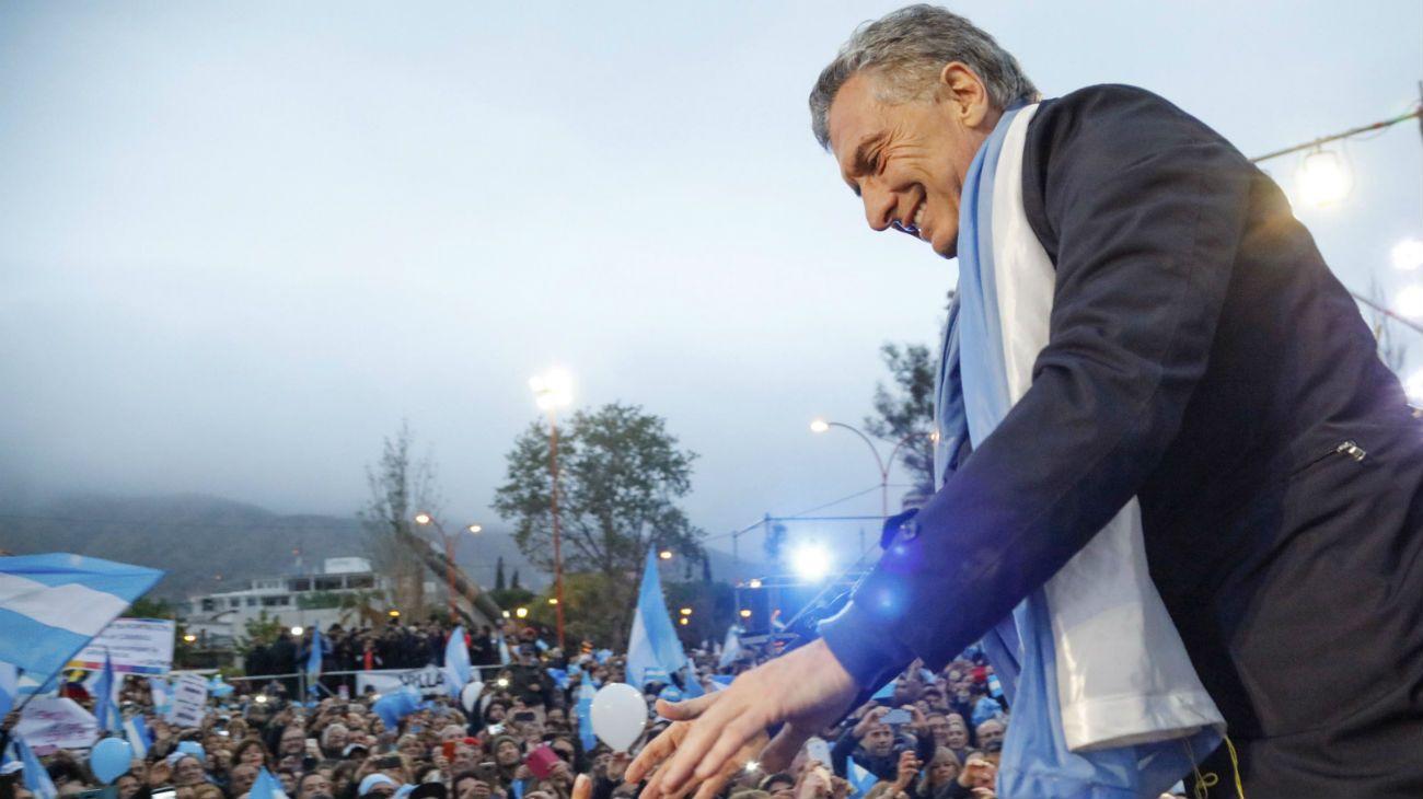 El presidente Mauricio Macri en un nuevo encuentro de la Marcha del Sí Se Puede en la ciudad cordobesa de Villa Carlos Paz.