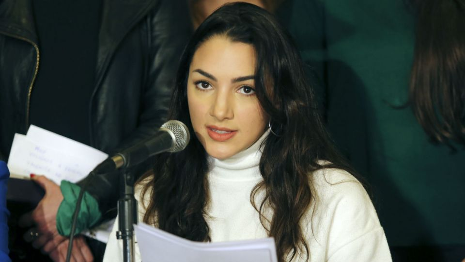 La actriz Thelma Fardin en la conferencia de prensa junto al colectivo Actrices Argentinas.